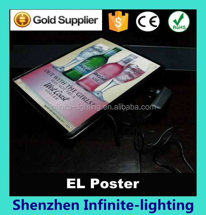 new 2015 product idea el poster for advertisement/ el poster for brand advertising / el flashing poster for advertising