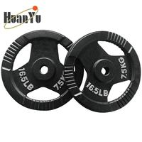 Weight Lifting Black Painting Cast Iron Barbell Weight Plate with Hand Grips