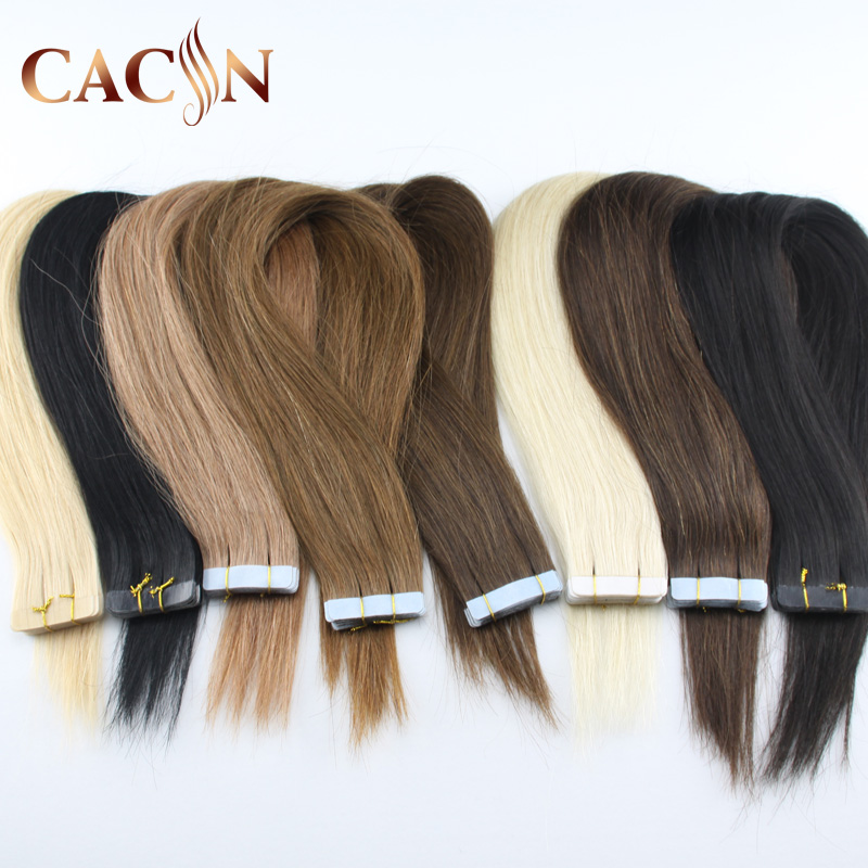 Cacin India Natural Black tape human hair extension 80cm,Top grade peruvian virgin remy human hair natural black