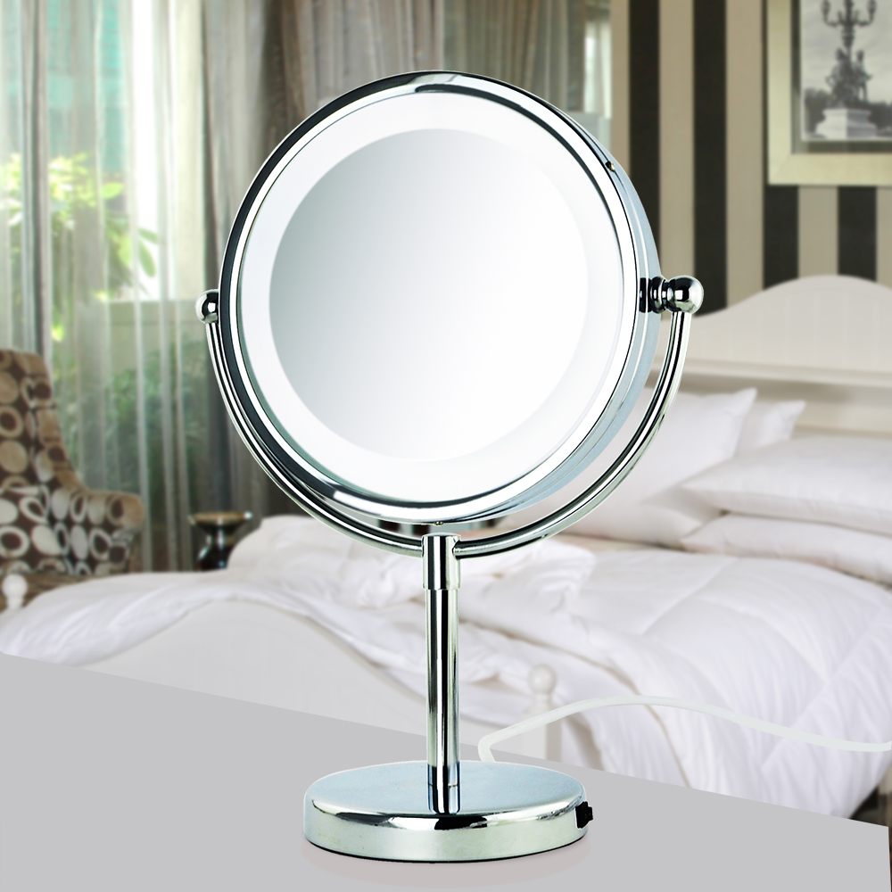 8 Inch Two Sided Hair Salon Beauty Tool Led Light Up Tabletop Mirror With Stand