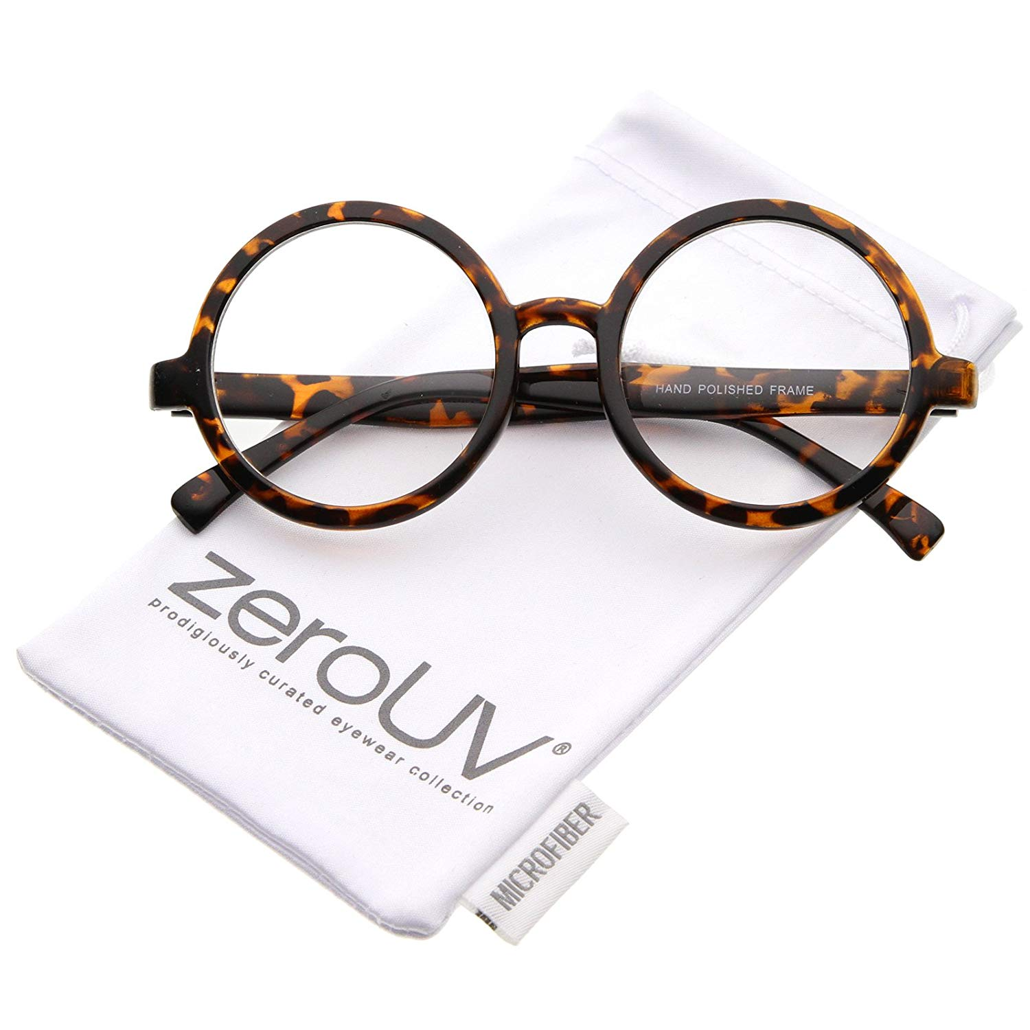 3d14dcc36984 Get Quotations · zeroUV - Retro Horn Rimmed Clear Lens Round Eyeglasses 52mm