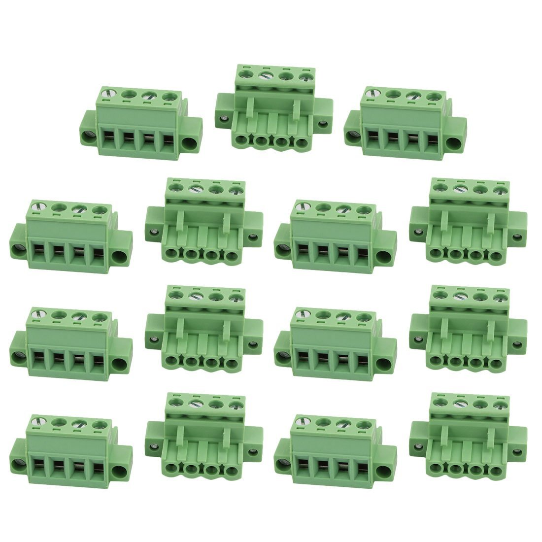 uxcell 15Pcs LC1M AC300V 15A 5.0mm Pitch 4P PCB Terminal Block Wire Connection