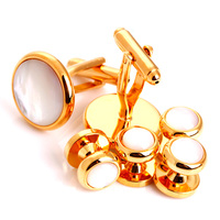 High Quality Luxurious Cuff Links Gifts Shirt Gold Cufflinks with Studs