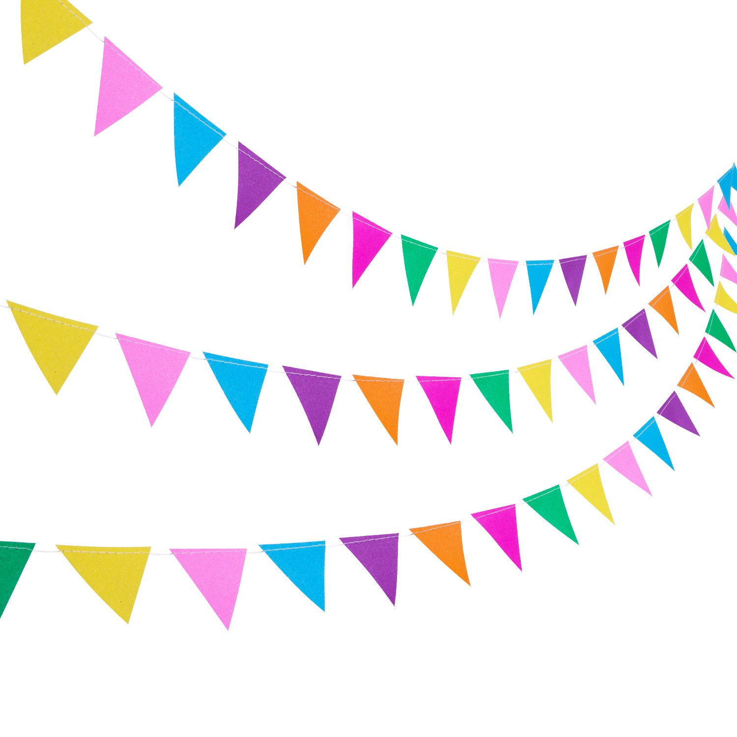 Blulu 3 Pack Paper Pennant Banner 11.5 Feet Party Bunting Hanging Decorations for Wedding Birthday Home Decor