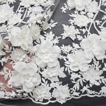 2017 Top end white french tulle lace fabric 3d flower net lace with pearls for wedding bridal dress HY0609-6