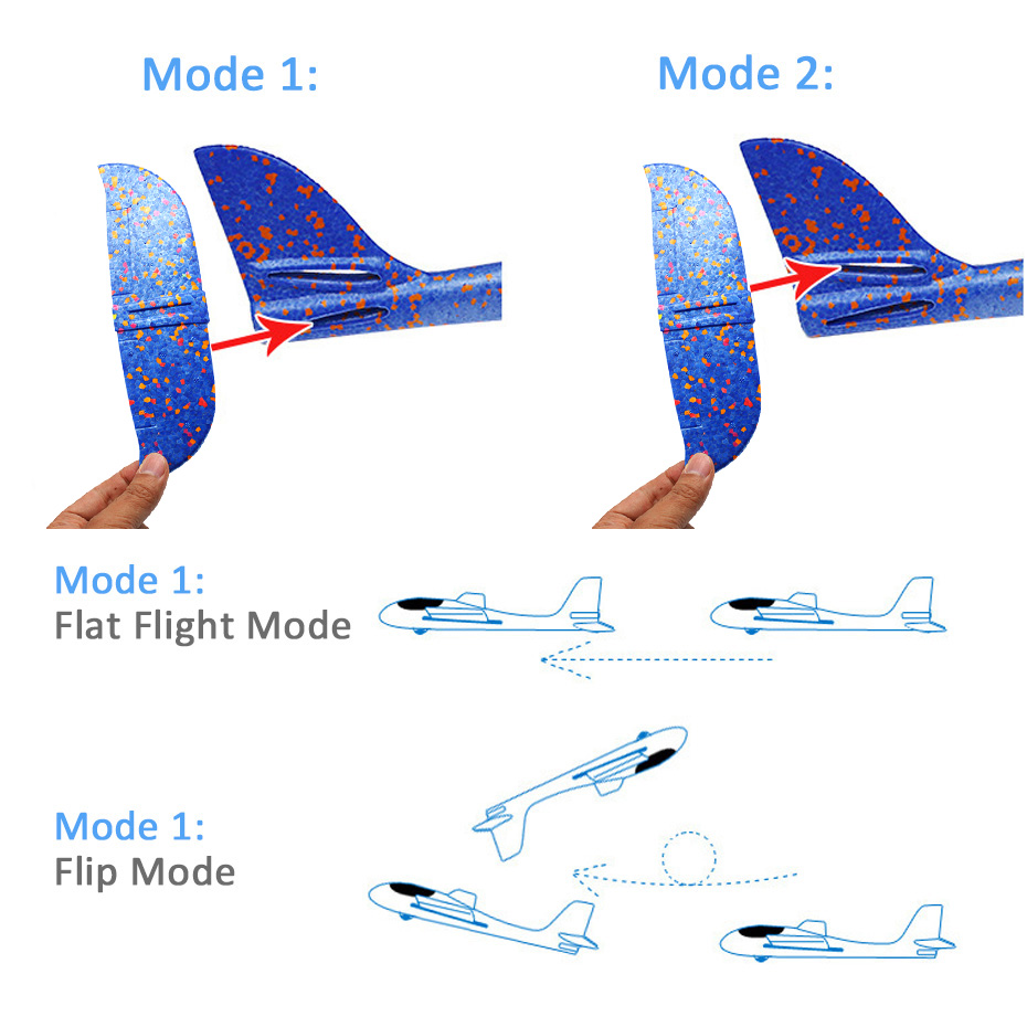 EPP Foam Hand Throw Airplane Outdoor Launch Glider Plane Kids Gift Toy 48CM Whirl Glider Airplane Interesting Toys With Light