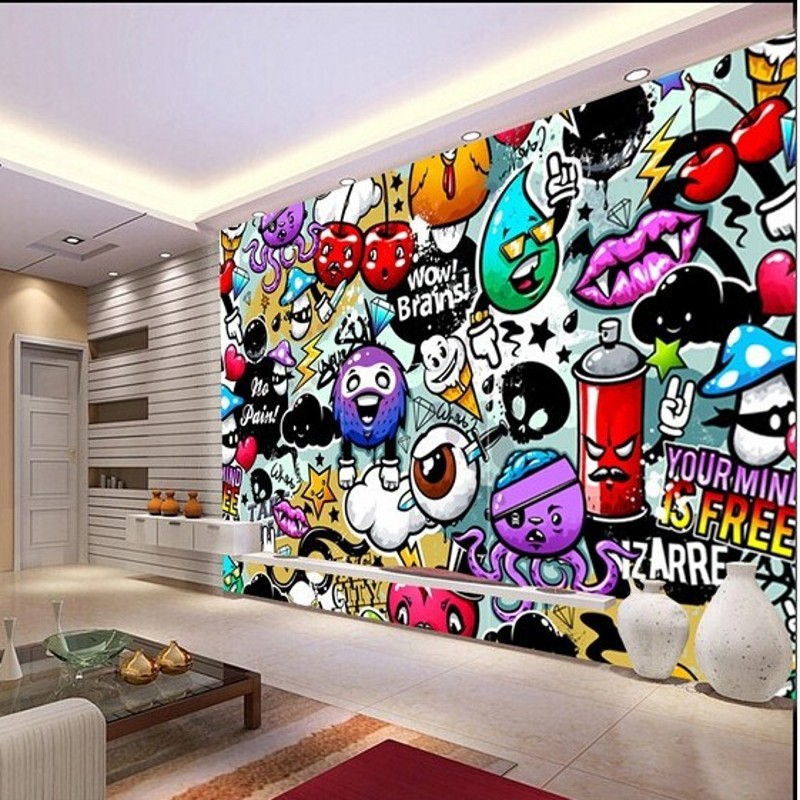 Graffiti Bedroom Art Paint Colors For Bedroom Youth Bedroom Sets Simple Little Boy Bedroom Ideas: Papel De Parede Wall Paper Custom Baby Wallpaper Colorful
