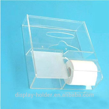 Clear Acrylic Toilet Tissue Holder With Cover
