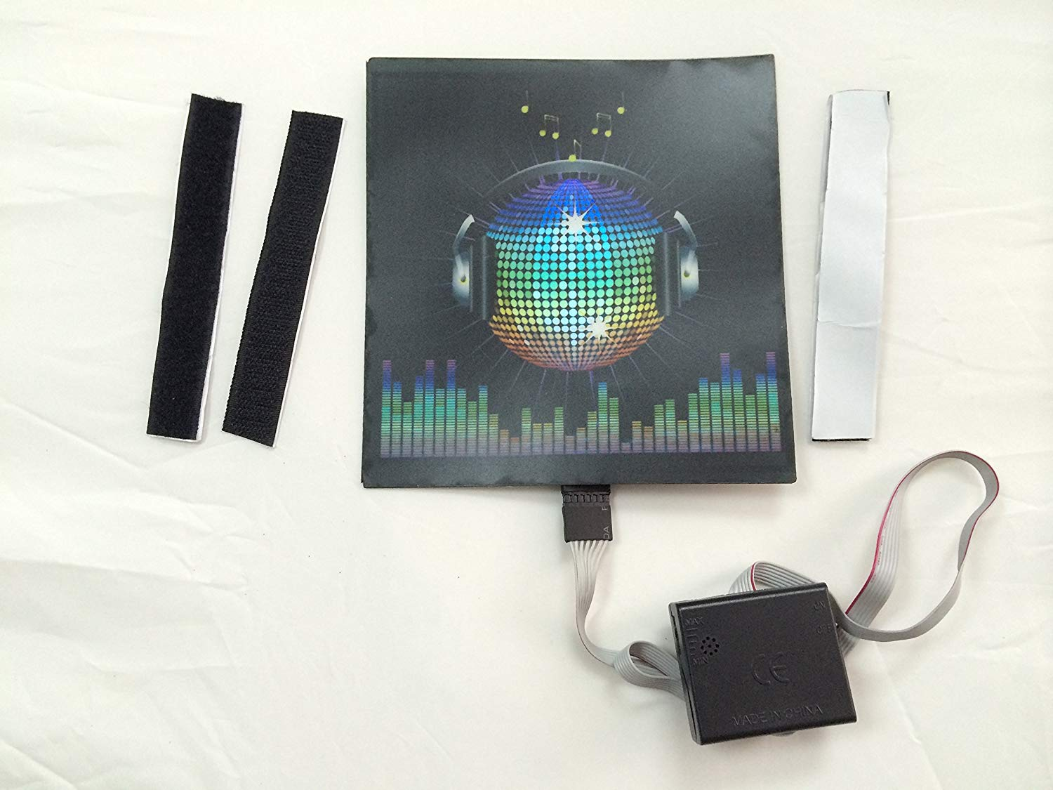 "Sound Activated LED DJ Flashing ""Disco Ball Headphone"" Equalizer EQ light up Panel with Sensor"
