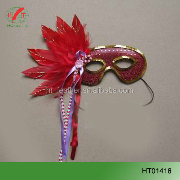 Wholesale Black and royal black Halloween feather mask