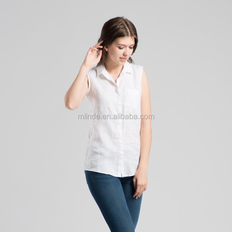8e5b5b7a17b Белая однотонная льняная текстура с короткими рукавами рубашка из чистого  льна топы блузки без рукавов летние