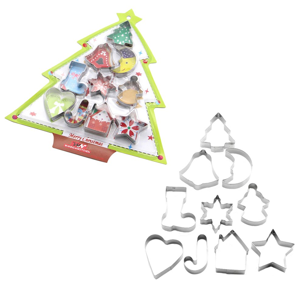 Udyr 10 piece Cookie Cutters Stainless Steel Vegetable Fruit Cutter Biscuit Tool Baking Molds include Christmas Tree, Angel, Snowflake, Gingerbread House, Bell, Heart, Star