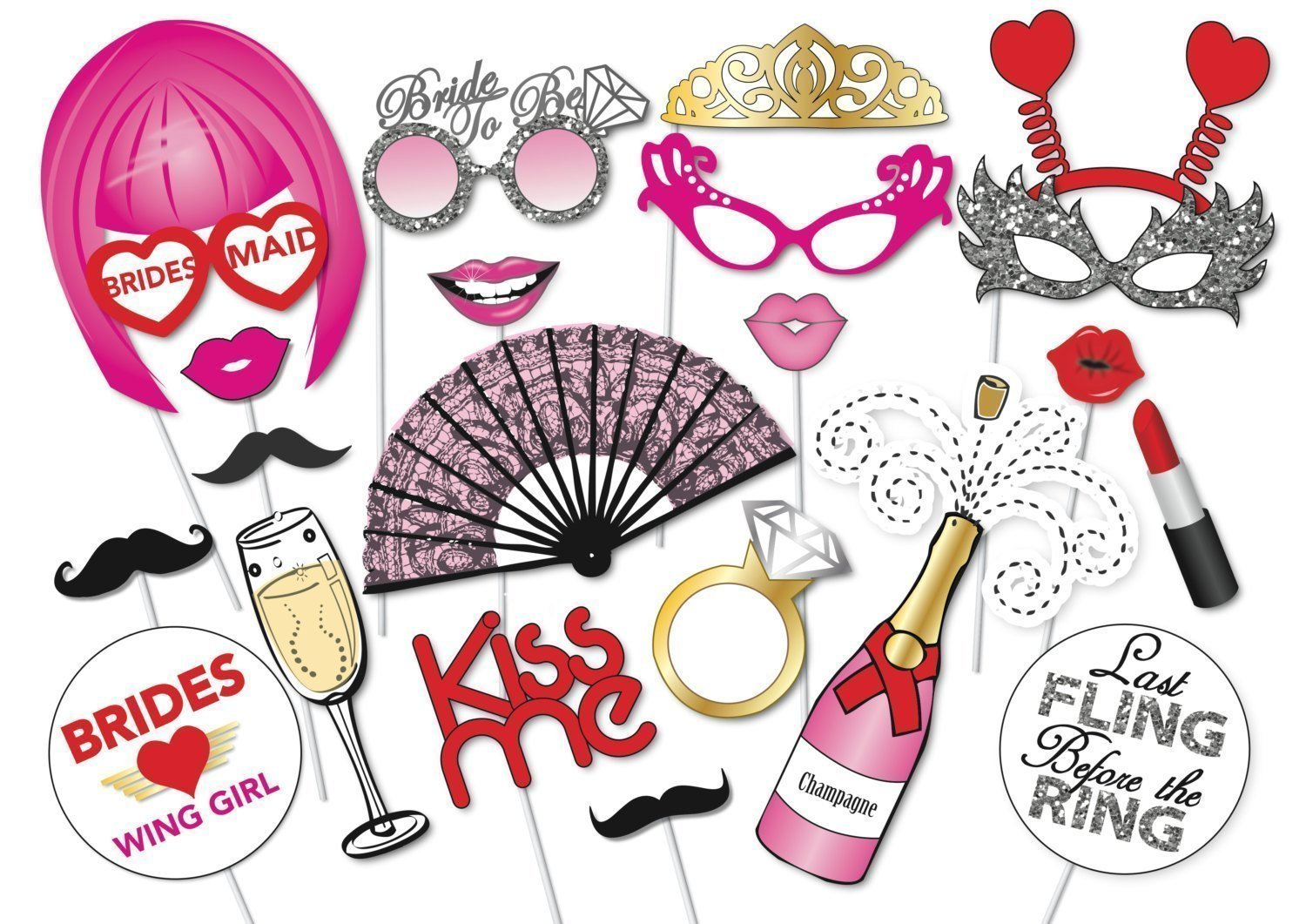 Buy Bachelorette Party Photo Booth Props Kit 22pcs Wedding Bridal