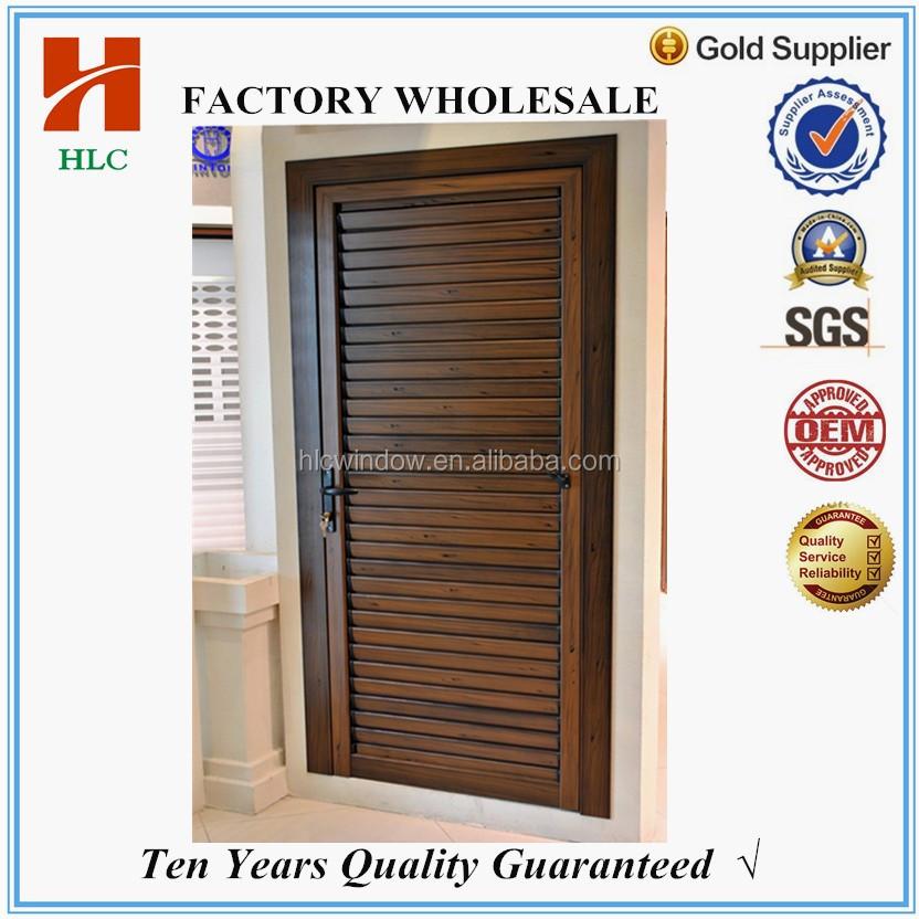 Frame Options Wooden Color Aluminium Bathroom Door With Louver Bottom
