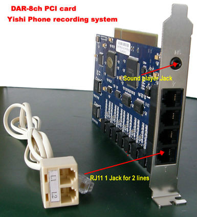 8CH PCI Telephone Recording Card 8 Lines Telephone Voice Recording Logger Device