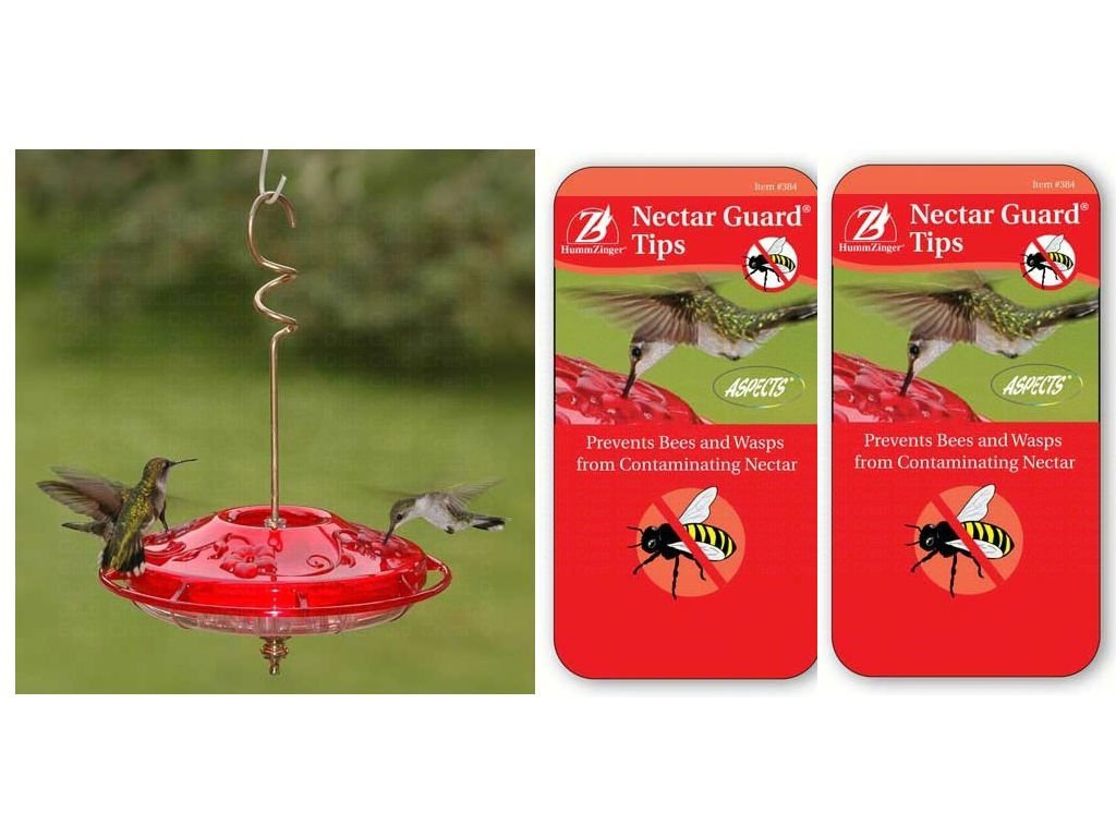 Aspects 381 Hummzinger Fancy Hummingbird Feeder - Red with two pack of HummZinger Nectar Guard Tips bundles