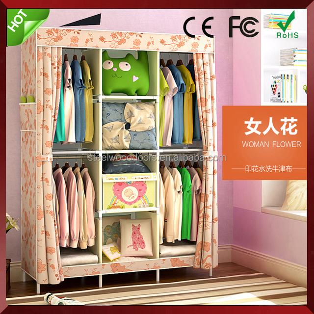 Modern Portable Folding Fabric Canvas Clothes Closet Cheap Wardrobe