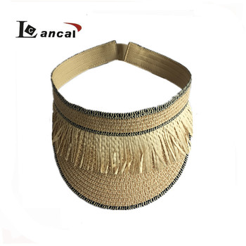 Ladies Natural Paperl Straw Visor With Tassel Trim - Buy Sun Visor ... 73b0af05d6e