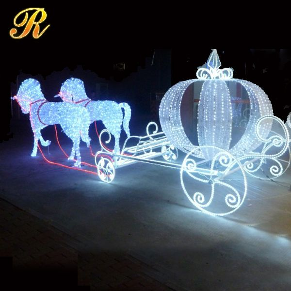 Led cinderella pumpkin horse carriage for christmas decoration