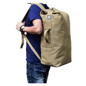 Multifunctional military solid color men sports travel duffle bags outdoor tactical rucksack canvas backpack
