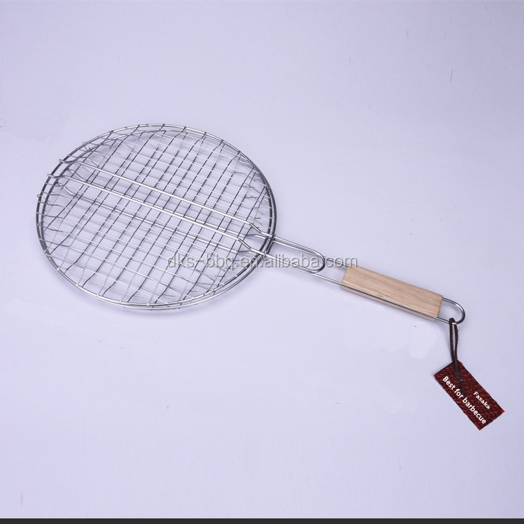 Factory price high quality wooden handle stainless steelround barbecue bbq grill gate wire mesh net