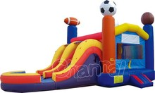 Sports 2 Lane Wet Dry Inflatable Bounce House Slide Combo