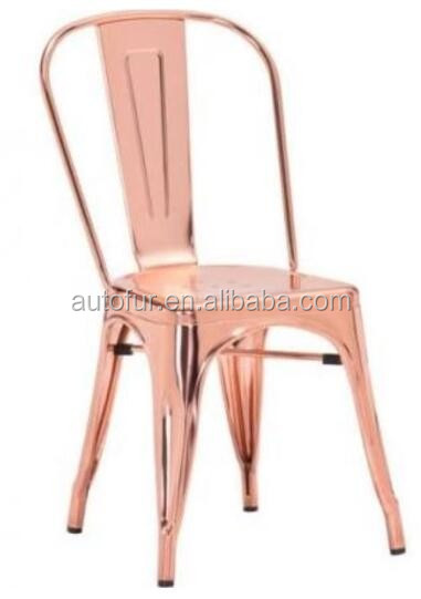 Rose gold shiny metal chair fashion rose gold chair