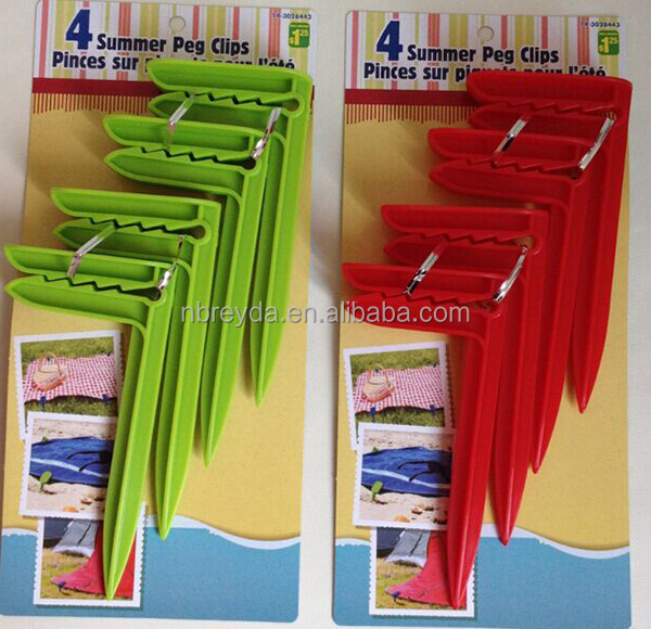 Personalised Beach Towel Pegs: 4 Summer Peg Clips Beach Towel Pegs