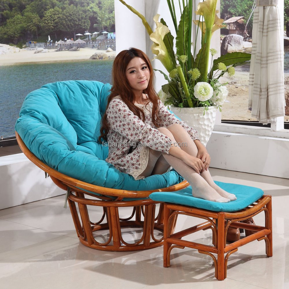 Super comfortabele woonkamer rotan papasan stoel met for Comfy kussen