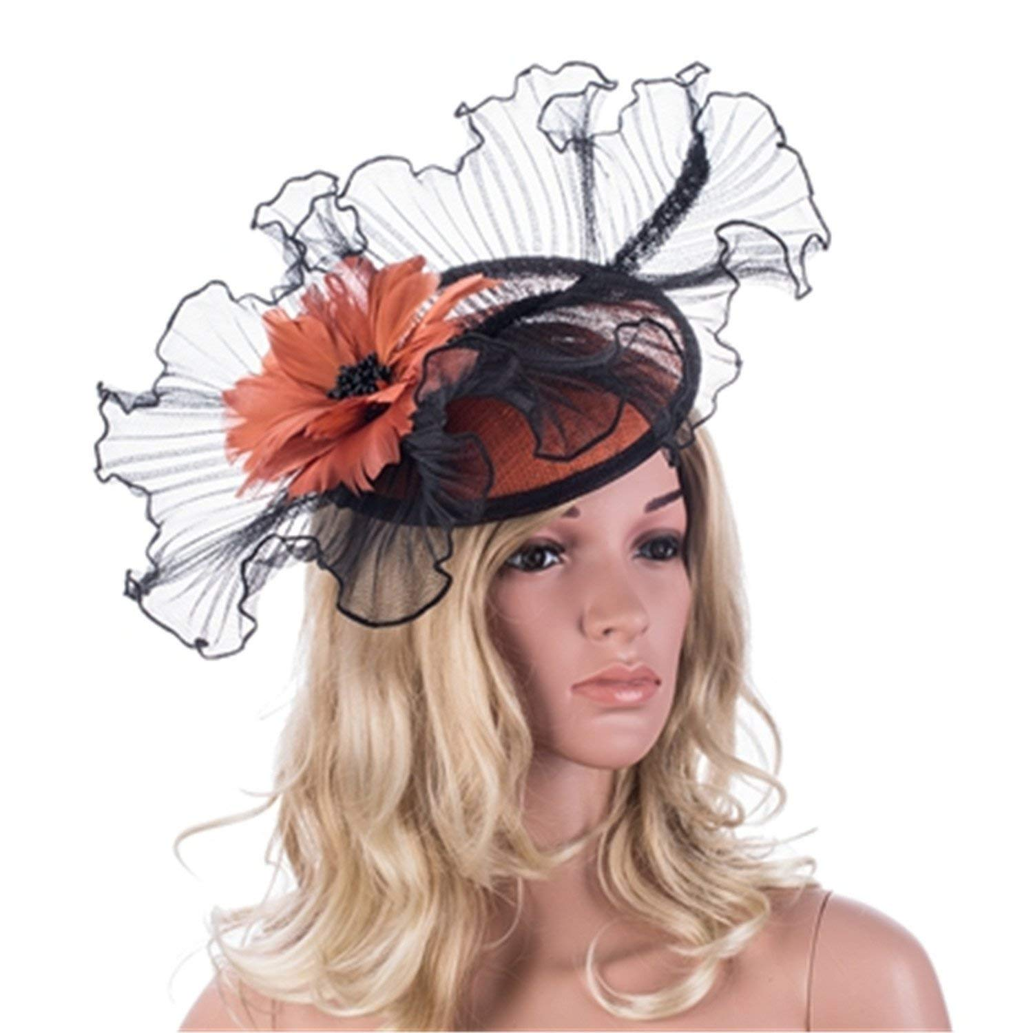 f1944fdb Get Quotations · Orange Flower Core Womens Sinamay Clips Saucer Hat  Fascinator Hat Bowknot Felt Cocktail Party Wedding Church