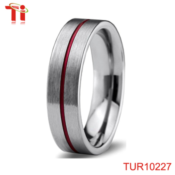 Dongguan Aohua Jewelry Tungsten Wedding Band Ring 6mm Red Grey Flat Pipe Cut Brushed Polished TUR10227