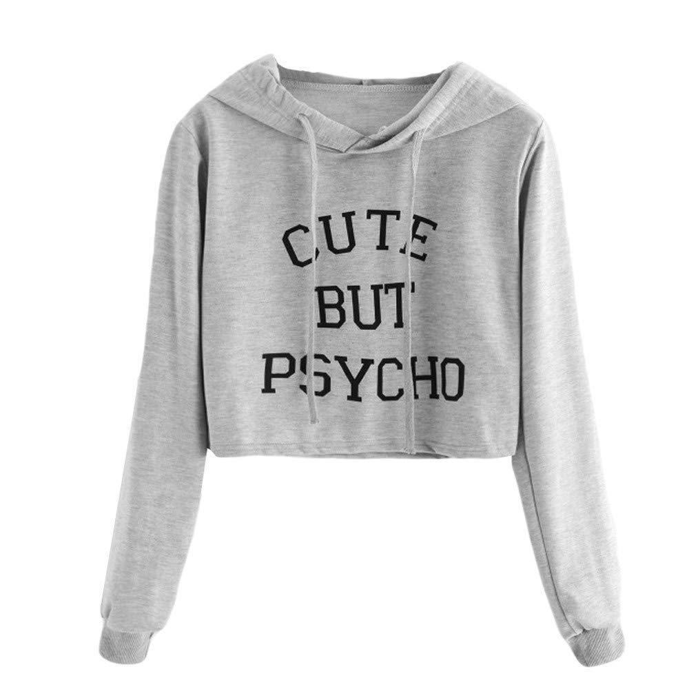 c841738adb1947 Get Quotations · POTO Womens Crop Top Sweatshirt,Long Sleeve Letter Printing  Hoodie Sweatshirts Pullover Jumper Sweater Tops