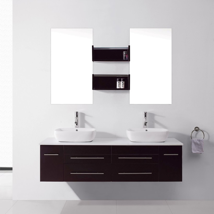 Modern Wall Hung Bathroom Cabinet With Mirror Mounted Vanity Side Amounted Contemporary