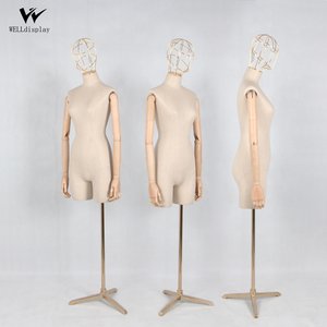 Half Scale Size Upper Body Bust female Dress Form Or Mannequin Covered Fabric Torso bust With beech Wood Arms for luxury brands
