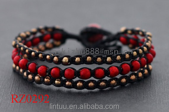 Fashion jewelry simple red coral beaded handmade jewelry brass bell woven bracelet bangle