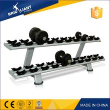 China New Design Commercial Strength Gym Equipment free weight manufacturer Twin Tier Dumbbell Rack