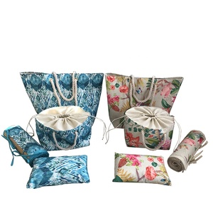 China print fabric beach bag with Pillows and mat beach bag set