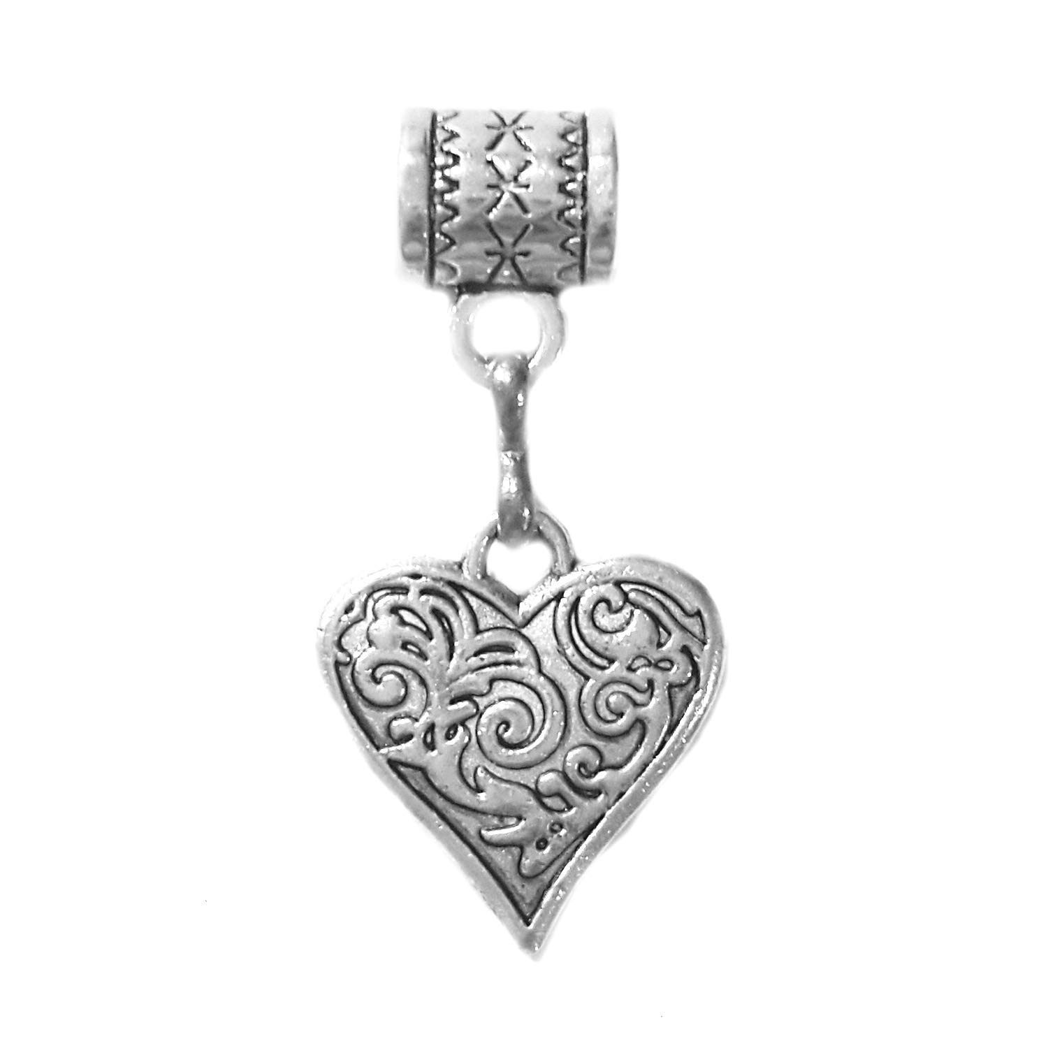 """Heart charm"" is a Tibetan Silver embossed charm by Mossy Cabin for large hole style snake chain charm bracelets, or worn on a neck chain, pendant necklace, or key chain"