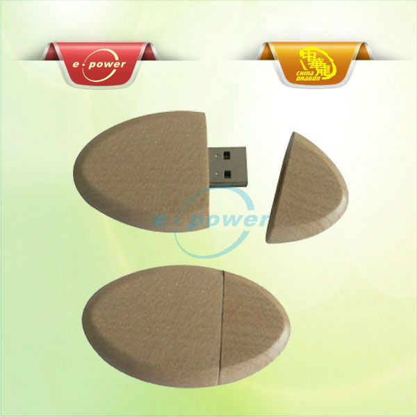 E-Power Oval or Elipse Shape Wooden USB Flash Stick or Flash Drives U180