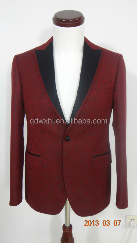 Woolen Suits Top Slim Red And Black Suits For Men Tuxedo Mens ...