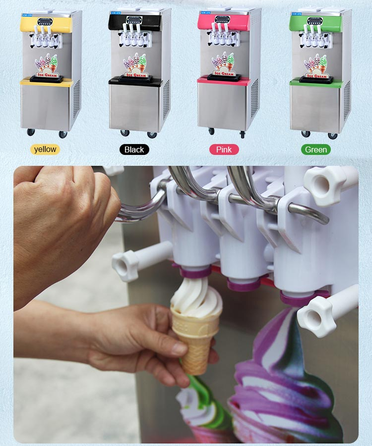 3 flavours rainbow soft icecream table commercial soft ice-cream machine