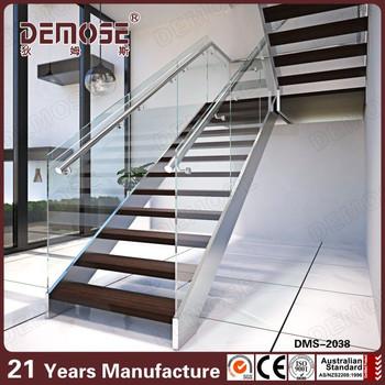 Interior Wood Stair Tread Brackets Stainless Steel Stairway