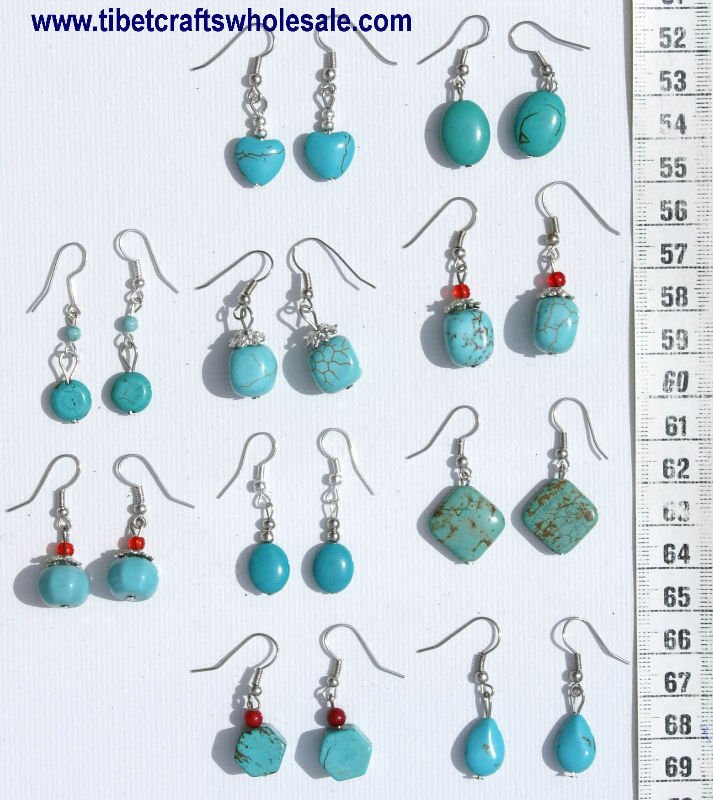 Earrings with Turquoise Stones Handcrafted Jewelry Art Sale Cheap Discount Ethnic Jewellery Wholesale