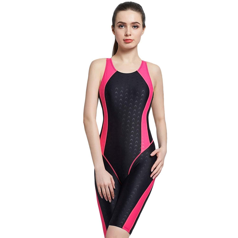 4069ede4ce6bc Get Quotations · PHINIKISS Knee Length Bodysuit Women Sport Swimsuit One  Piece Bathing Suit