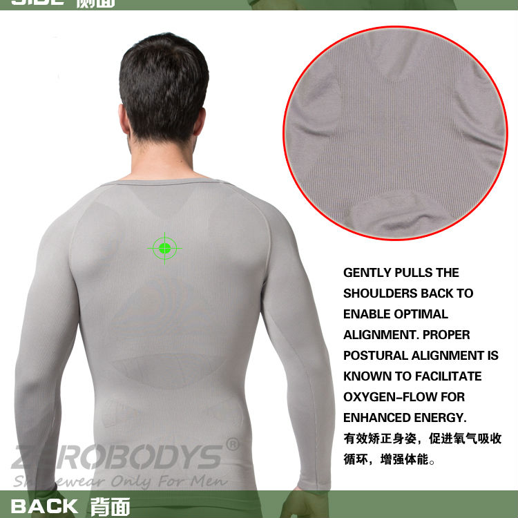 321 GY ZEROBODYS Comfortable Mens Body Shaper Long Sleeve Undershirt Sport Corset Slimming Girdle Shapewear Underwear