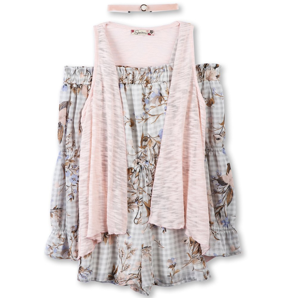 e213d2b8380 Get Quotations · Speechless Big Girls  Off The Shoulder Romper With Vest