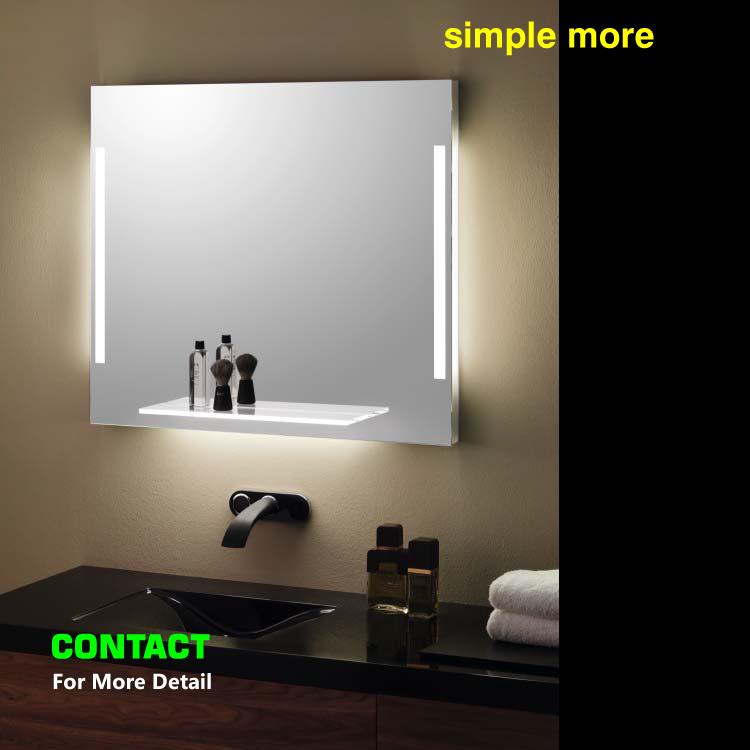 estante de cristal de bao espejo con luces para el hotel hilton uv