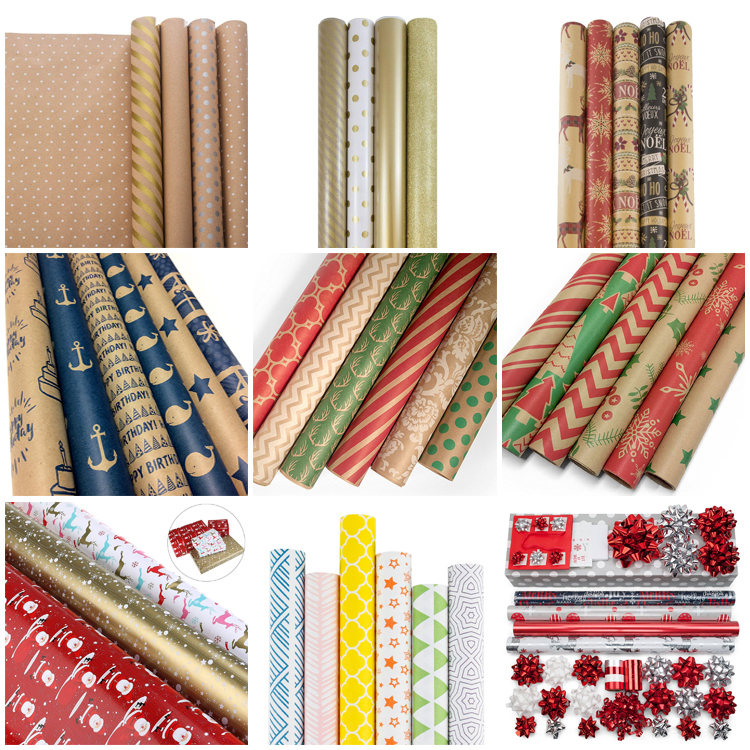 OEM Acceptable Various Patterns Printed Kraft Paper Birthday Gift Wrapping Paper