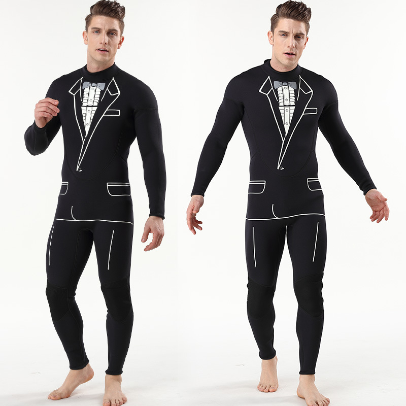 3MM Elastic Neoprene Wetsuits Men Long Sleeve Thermal Jellyfish Clothing Diving Suits for Snorkeling Surfing Swimming