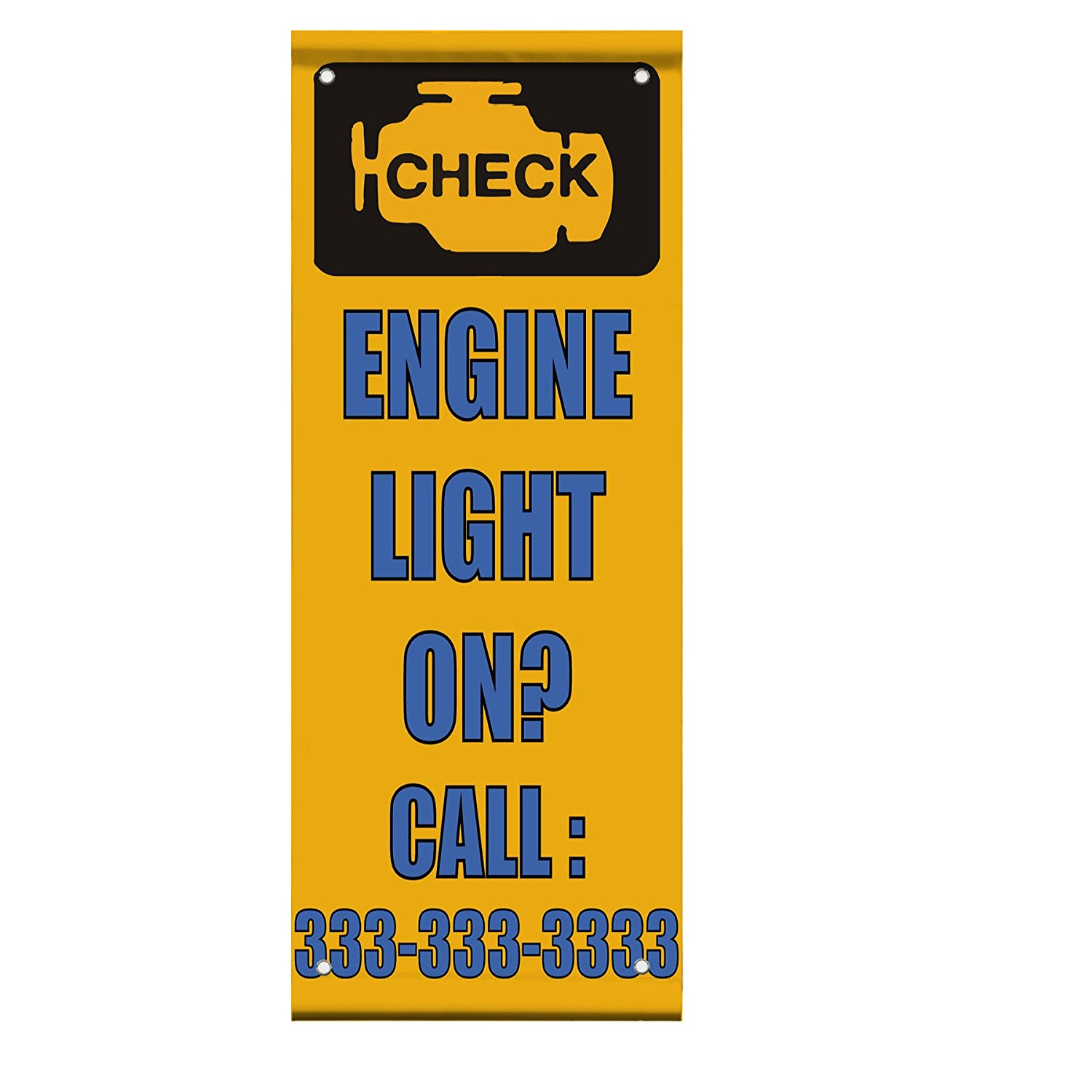 Engine Light On? Custom Number Double Sided Vertical Pole Banner Sign 24 in x 36 in w/ Wall Bracket